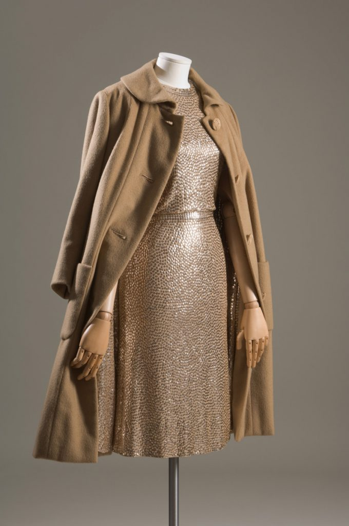 "Evening set; gold sequined camel silk jersey ""mermaid"" sheath dress and cashmere straightline ""subway coat"" with sequined lining"