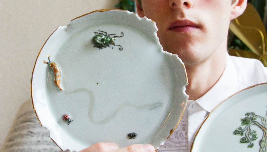 This designer puts yucky bugs on plates for timeless arty ceramics