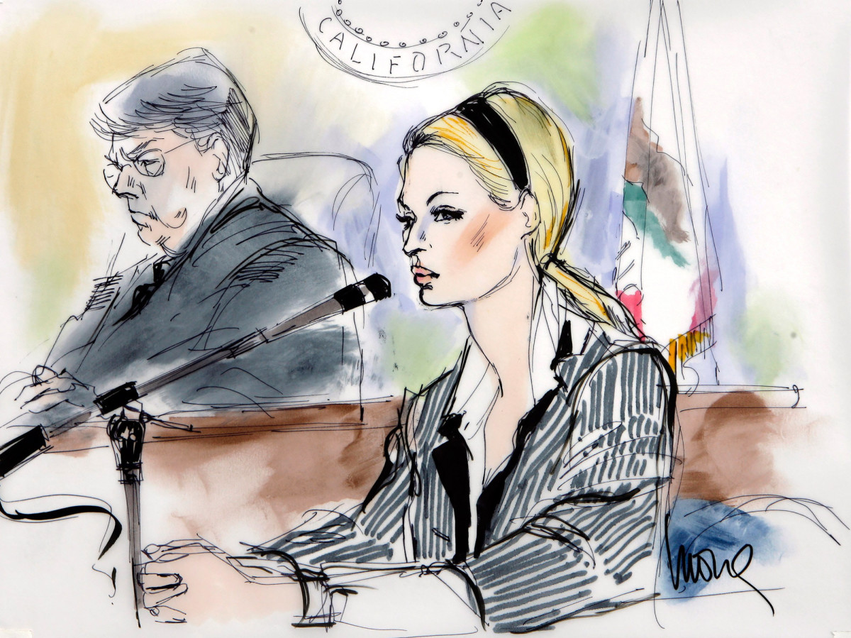 In this court drawing by court artist mona shafer edwards paris hilton right