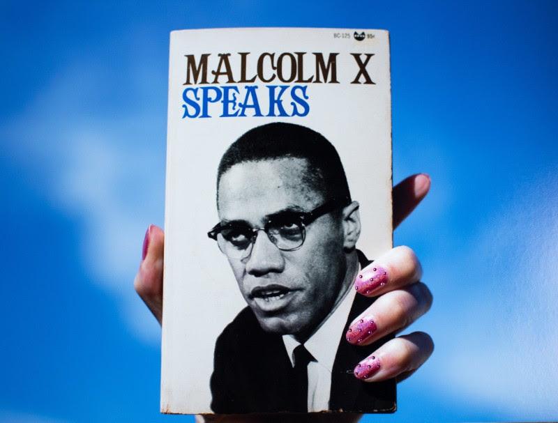 "girlgaze-Sadie Barnette, ""Untitled (Malcolm X Speaks), 2018. Archival pigment print and Swarovski crystals."