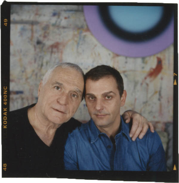 John Giorno and Ugo Rondinone in front of Rondinone's target painting. New York, NY, United States, 2005. Photo: Peter Ross. 2 1/2 x 2 1/2, color, photographic print.