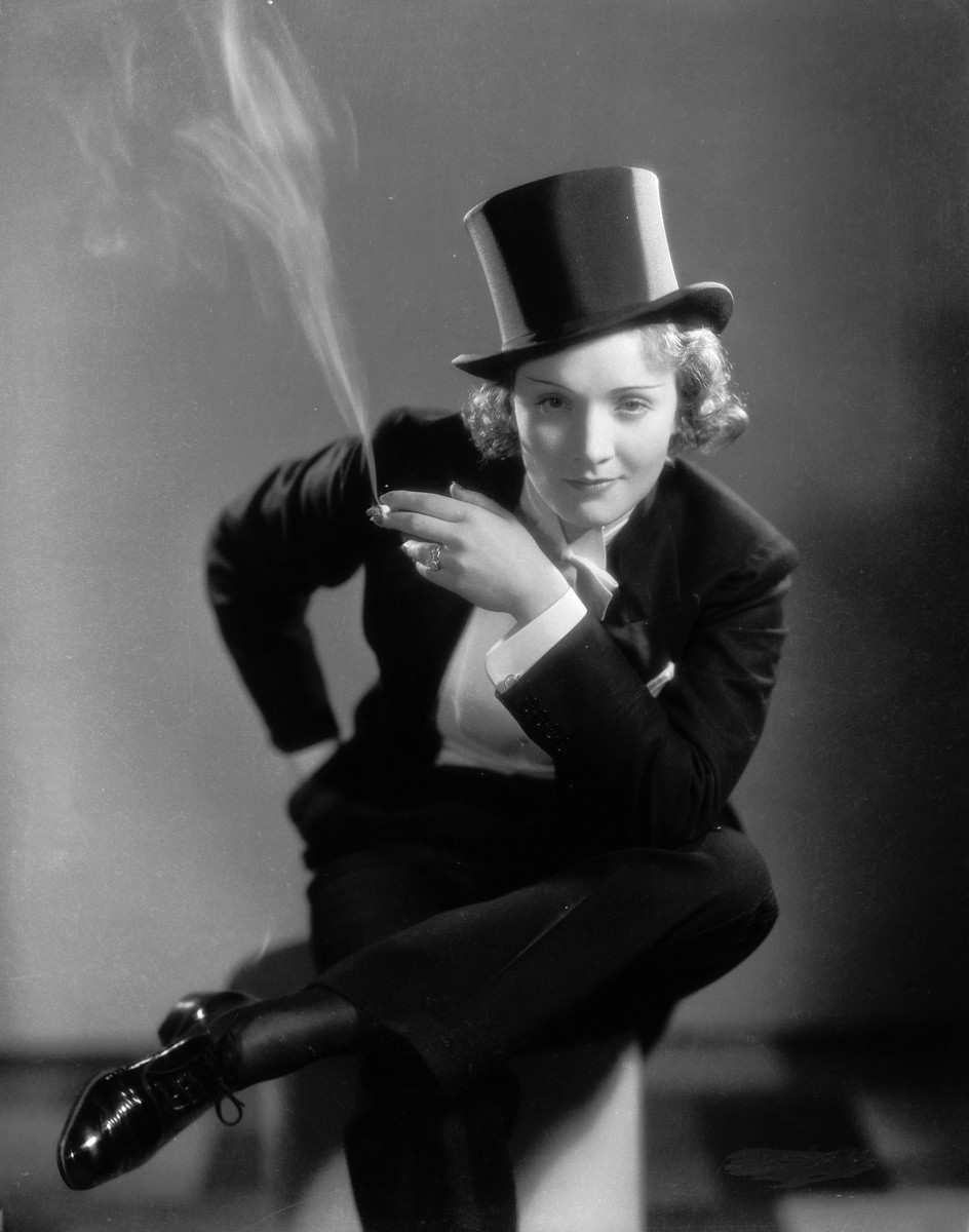 Smoking Amy: Marlene Dietrich making her Hollywood film debut as the tuxedo clad Amy Jolly in the film 'Morocco' 1930 Photograph *Photo by Eugene Robert Richee/John Kobal Foundation/Getty Images *Courtesy, Museum of Fine Arts, Boston