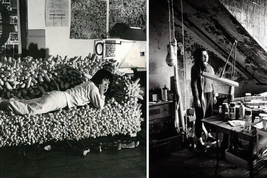 Left-Yayoi-Kusama-reclining-on-Accumulation-No.-2-1962-1962-Image-via-seattleartmuseumorg-Right-Eva-Hesse-in-her-studio-Image-via-pinterestcom